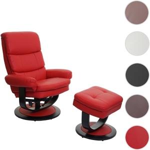 Relaxsessel HWC-C16, Fernsehsessel TV-Sessel Hocker mit Staufach ~ Kunstleder rot