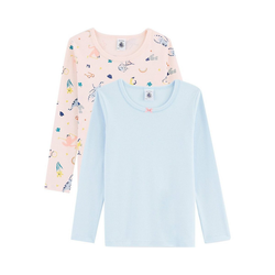 Petit Bateau Unterhemd Unterhemden langärmlig Doppelpack für Mädchen 152