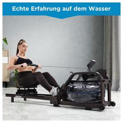 Vaxiuja Rudergerät Wasserrudergerät für Heimgymnastik, Wasserrudergerät Wasser Widerstand mit LCD-Monitor, Indoor-Cardio-Gerät Workout Sports Fitness (Braun)