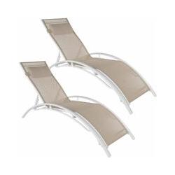 2 Gartenliegen aus Aluminium, 5-stufig - Gartenliege, Liegestuhl, Relaxliege - beige