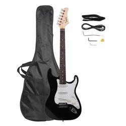 Glarry E-Gitarre GST, E Gitarre Set Elektrogitarre E-Gitarre Schwarz Set mit Tasche
