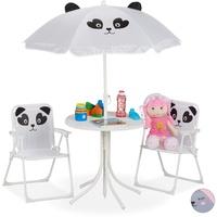 Relaxdays Kindersitzgruppe mit Sonnenschirm weiß