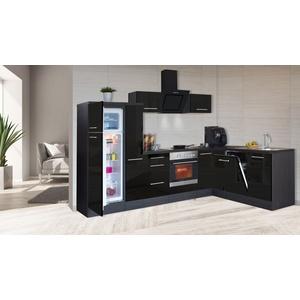 Winkelküche Küchenzeile L-Form Küche Einbau Eiche schwarz 290 x 200 cm respekta