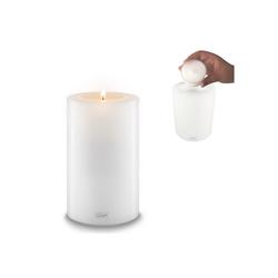 Qult Teelichthalter Qult Teelicht-Halter Trend 10cm Dauerkerze Kunststoff-Kerze Teelichtkerze in schwarz und weiss weiß 18 cm