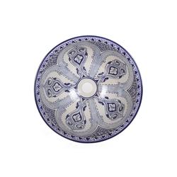 Casa Moro Aufsatzwaschbecken Mediterranes Keramik-Waschbecken Fes94 rund Ø 40 cm Höhe 18 cm blau weiß, Handmade Waschschale, Marokkanisches Handwaschbecken Aufsatzwaschbecken für Bad Gäste-WC, WB40304, Handmade