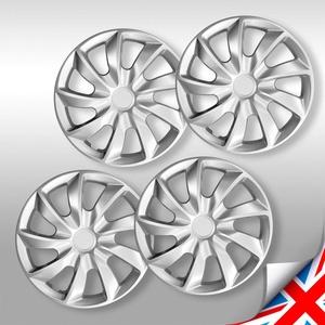 NRM 4er-Set Radzierblenden 43,2 cm (17 Zoll), HQ, ABS, Kunststoff, universal, zum Einstecken, Quad Silver