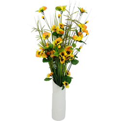 Kunstpflanze Gras/Stiefmütterchen, Höhe 70 cm