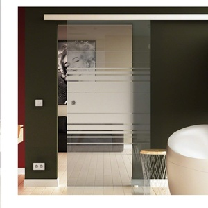 Glas Schiebetür 900x2050 mm Dessin. Horizont (H) Levidor® EasySlide-System komplett Laufschiene und Muschelgriffe Schiebetür aus Glas für Innenbereich  ESG-Sicherheitsglas