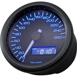 Daytona Tacho Velona Ø60mm blau bis 260 Km/h schwarz