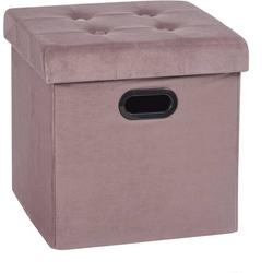 Woltu Sitzhocker, Sitzhocker Sitzwürfel Aufbewahrungsbox aus Samt rosa