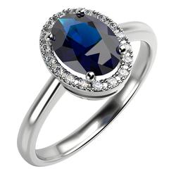 Halo Verlobungsring mit ovalem Saphir und Diamanten Arya