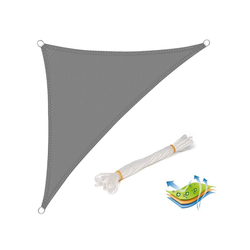 Woltu Sonnensegel, Sonnensegel Windschutz dreieck grau 300 cm x 425 cm x 300 cm