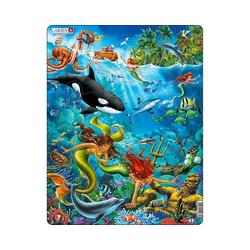 Larsen Puzzle Rahmen-Puzzle, 32 Teile, 36x28 cm, Meerjungfrau, Puzzleteile