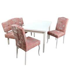 moebel-direkt-online Essgruppe Dirk, (Spar-Set, 4-tlg., 1 Esstisch mit Auszügen, 2 Stühlen und 1 Sitzbank), Stühle und Sitzbank montiert, Esstisch zur Selbstmontage rosa