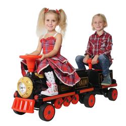 Kinder Elektrozug mit Anhänger elektrische Eisenbahn Spielzeug Kinderfahrzeug