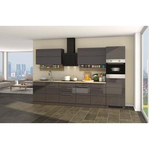 Küchenzeile mit Elektrogeräten Küchenblock mit E-Geräten 320 cm hochglanz grau