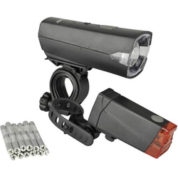 Fischer Fahrrad Fahrradbeleuchtung Set 85337 LED batteriebetrieben Schwarz