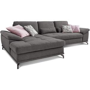 Cavadore L-Form-Sofa Castiel mit Federkern / Große Eckcouch mit Sitztiefenverstellung und XL-Longchair / 312 x 89 x 173 / Webstoff, Grau