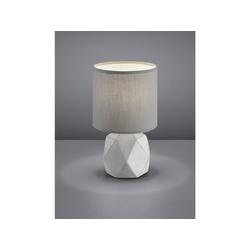 TRIO LED Tischleuchte, kleine Beton Tisch-Lampe mit Stoff-Lampen-Schirm für Wohnzimmer, Fensterbank, Schlafzimmer, Schreibtisch grau