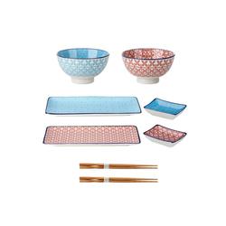 vancasso Kombiservice MACARON (8-tlg), Porzellan und Bambus, Porzellan Sushi Geschirrset
