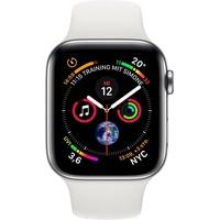 Apple Watch Series 4 (GPS + Cellular) 44mm Edelstahlgehäuse silber mit Sportarmband weiß