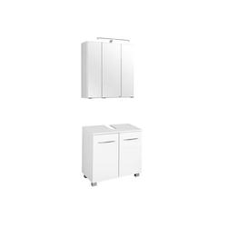 Lomadox Waschbeckenunterschrank BERGAMO-03 Waschbeckenschrank & Spiegelschrank Set, weiß, B x H x T ca.: 60 x 200 x 35cm weiß