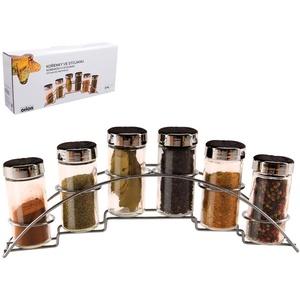ORION Gewürzregal Gewürzhalter Organizer Set 6 Stück Gewürzbehälter + Gewürzständer für die Küche