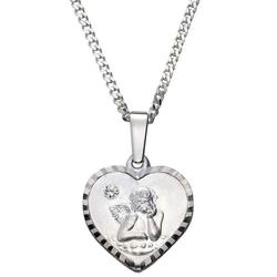 Firetti Kette mit Anhänger Herz, Engel mit Gravur, matt und glänzend, diamantiert, mit Kristallstein