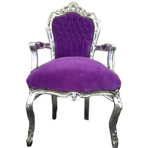 Casa Padrino Barock Esszimmer Stuhl Lila / Silber mit Armlehnen - Möbel Barock