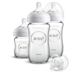 Philips Avent Natural Flaschen-Set Glas für Neugeborene SCD303/01, 3 Flaschen & Schnuller