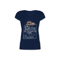 Shirtracer T-Shirt Ich spüre das Tier in mir es ist ein Faultier - Statement - Damen T-Shirt mit V-Ausschnitt - T-Shirts faultier t-shirt v ausschnitt XL