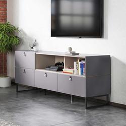 Wohnzimmer Lowboard in Beton Grau vier Schubladen