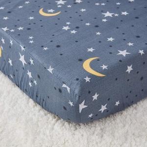 TEALP Spannbettlaken für Kinderbett, Baumwolle, graue Sterne und Mond, passend für Standard-Kinderbett-Matratzen, 140 x 70 x 20 cm, 1 Packung