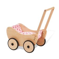 Pinolino Puppenwagen Trixi komplett (komplett mit Bettzeug Herzchen rosa, Buche)