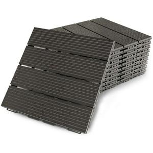 Premium Terrassenfliesen aus Kunststoff – 30 x 30cm, 8 Stück, 0,72 qm, Anti-Rutsch-Oberfläche, Klickfliesen in Holzoptik, Bodenbelag, schwarz, dunkel, witterungsbeständig, FORTENA