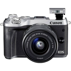 Canon EOS M6 Systemkamera EF-M 15-45mm IS STM 24.2 Megapixel Silber WiFi, Bluetooth, Full HD Video
