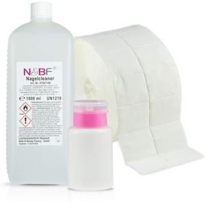 N&BF Nagel Cleaner Set 1000ml + Dispenser Pumpflasche + 1000 Zelletten Cellulose Pads (2 Rollen à 500 Stück) - 70% Isopropanol-Alkohol isopropylalkohol 1L – für Gelnägel – Nagelreiniger (Rosa 150)