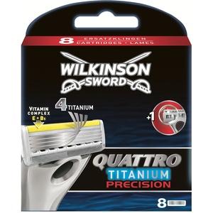 Wilkinson Sword Quattro Titanium Precision Rasierklingen Klingen, für Herren Rasierer, 8 St