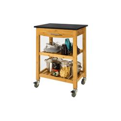 SoBuy Servierwagen FKW28, Küchenwagen Küchenregal aus Bambu