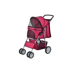 Pro-tec Tiertransporttasche, Hundewagen Pet Stroller Hundebuggy Regenschutz zum Schieben Roadster rot
