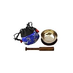 Klangschale mini (50 g) mit Unterlage  Klöppel und Beutel (blau)