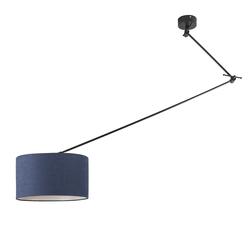 Hängelampe schwarz mit Lampenschirm 35 cm blau verstellbar - Blitz I