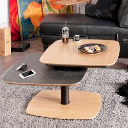 Sofatisch in Schwarz und Eiche Bianco schwenkbarer Tischplatte