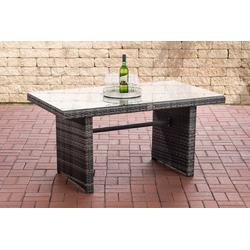 CLP Gartentisch Tisch Fisolo ca. 140 x 80 cm, mit einer Tischplatte aus Glas grau