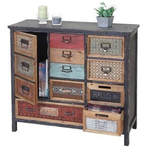 Apotheker-Schrank MCW-A43, Kommode, Tanne Holz massiv Vintage Shabby-Look 90x84x32cm