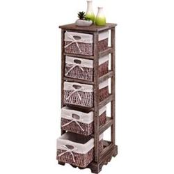 Regal Kommode mit 5 Korbschubladen 90x25x28cm, Shabby-Look, Shabby-Chic, Vintage ~ braun