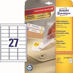 Universal-Etiketten 63,5x29,6 mm 10 Blatt/270 Etiketten weiß