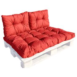 GMD Living Sitzkissen PREMIUM PALETTE, Set: 1 Sitzkissen + 2 Rückenkissen, rot, 12 cm Polsterhöhe rot Set: 1 Sitzkissen + 2 Rückenkissen, rot - 80 cm x 120 cm