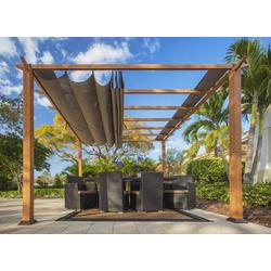 "Outdoor-Pavillon ""Florida"", Holzoptik, verstellbares Sonnensegel"
