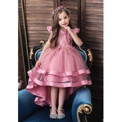 TOPMELON Abendkleid Prinzessin Kleid, Partykleid, Kurzarm, Mit Stickmuster rosa 140
